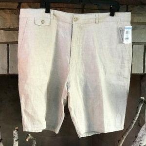 NWT Toscano Mini Check Tan Linen Shorts